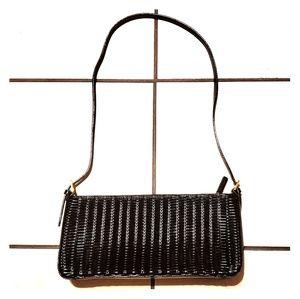 Etienne Aigner Black Leather Woven Shoulder Bag